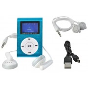 Mini MP3 Player cu Afisaj LCD si Slot USB 2.0, suporta card microSD de pana 32GB, culoare Albastru