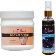 PINK ROOT DE-TAN SCRUB 500GM WITH CHARCOAL FACE WASH 100ML