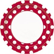 Unique Red Polka Dot Paper Plates, 8ct