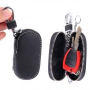 Univerzális bőr övre csatolható cipzáras kulcstartó táska - FEKETE - T10067