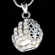 Swarovski Crystal Baseball Softball Mit Mitten Gloves Necklace Jewelry