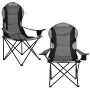 [casa.pro]® Set de 2 sillas de Camping - 112 x 87 cm - Silla para Jardín Balcón Terraza - Silla para Pescar - Silla para Viajar - Negro y Gris