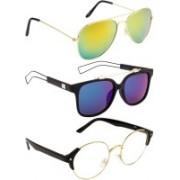 NuVew Aviator, Round, Wayfarer Sunglasses(Blue, Clear, Golden, Green)