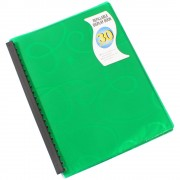 BEAUTONE 31863 JEWEL DISPLAY BOOKS REFILLABLE A4 30 POCKET GREEN