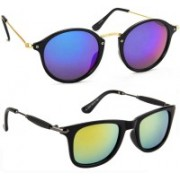Elgator Cat-eye, Wayfarer Sunglasses(Blue, Yellow)