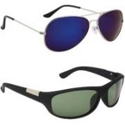 Royalmede Aviator, Wrap-around Sunglasses(Blue, Green)