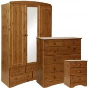 Scandi Pine Bedroom Furniture Set - Bedside, 2+4 Chest & 3 Door 5 Drawer Mirrored Wardrobe