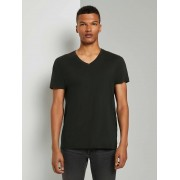 TOM TAILOR DENIM T-shirt met V-hals, Heren, Black, M
