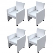vidaXL Dining Chairs 4 pcs Artificial Leather White