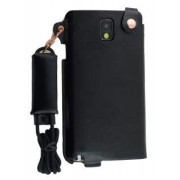 Ultra Slim Synthetic Leather Pouch with Strap for Samsung Galaxy Note 3 - Samsung Leather Slide-in Case (Classic Black)