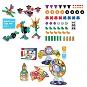 Creative Building 60-Piece Kit & 86-Piece Mini Magnetic Blocks, Open-Ended Construction Kit for Kids, Thinking Skills, Problem-Solving, Imagination, STEM, Motor, Fun Activity for Little Builders