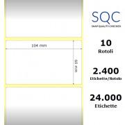 Etichette SQC - Carta patinata (bobina), formato 104 x 60