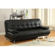 Black vinyl folding futon sofa bed with removable arms