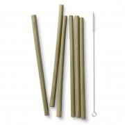 Bambu Sugrör i ekologisk bambu, 6 st + Diskborste