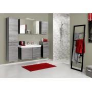 Lifestyle4Living Badmöbel Set 5-tlg. in graphitgrau, Fronten Eiche rauchsilber NB, Spiegelschrank, Waschtisch, Seitenschrank, Hängeschrank, Unterschrank