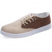 Zapatos De Lona Hombres Lino Respirable Canvas Shoes-Marrón