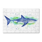 Great White Shark - Watercolor (8x12 Premium Acrylic Puzzle, 63 Pieces)
