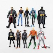 10pcs/set DC Comics Super Hero Superman Black Canary Robin Batman The Flash Action Figure Collectible Model Toy 11cm
