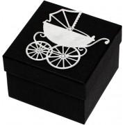 Giftisimo Luxusní dárková krabička se stříbrným kočárkem