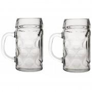 Merkloos 2x Duitse bierpullen 1 liter