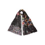 【60%OFF】カシミヤ シルク混 フラワー柄 切替 ストール マルチ ファッション > ファッション小物~~スカーフ