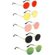Briota Retro Square Sunglasses(Red, Yellow, Pink, Black, Green)