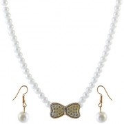 Jewelmaze Gold Plated White Alloy Necklace Set For Women