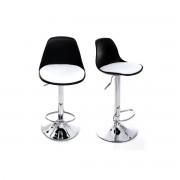 Miliboo 2 Design-Barhocker STEEVY Schwarz und Weiß