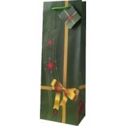 Papírová taška na 1 víno vánoční zelená