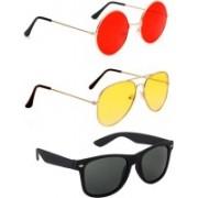 Elligator Round, Aviator, Wayfarer Sunglasses(Red, Yellow, Black)