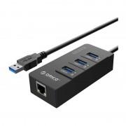 Placa retea Orico HR01-U3 PRO Gigabit cu HUB USB 3.0 Black