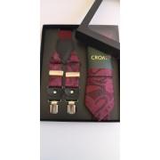 Бизнес клас вратовръзка тиранти и кърпичка за сватба бал и офис в бордо