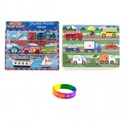 Melissa & Doug Vehicles Chunky Wooden Puzzle And Vehicles Peg Puzzle With Dimple Bracelet