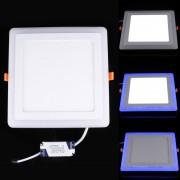 18w + 6w Amplio Voltaje De Aislamiento Dos Colores (blanco + Azul) Cuadrado Led Panel De Luz Doble Pared Lampara De Techo Con 3 Modo De Luminiscencia, Ac 100-265v, Tamaño: 245x245x10mm