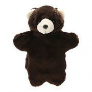 Chinatera Weight Easily Animate Adorable Bear Hand Puppet Soft Fur Doll Plush Toy EST Animal Story Telling Prop Play Glove Free Size Black