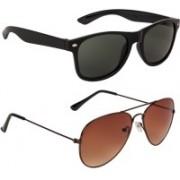 Marabous Wayfarer, Aviator Sunglasses(Green, Brown)