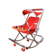 ABASR BABY KIDS MULTICOLOUR 4 IN 1 FOLDABLE RED STEEL HARD WALKER