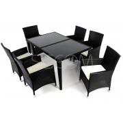 Komplet mebli z technorattanu, stół + 6 krzeseł - czarny
