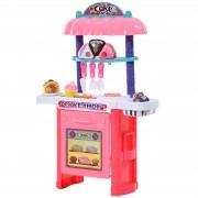 Homcom ® Kuchnia Do Zabawy Zestaw Ciast Dla Dzieci 20 Elementów Różowy Pp 46 X 21,2 X 67 Cm