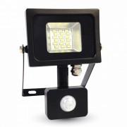 LED reflektor , 10 Watt , Ultra Slim , SMD , mozgásérzékelős , természetes fehér , fekete ház