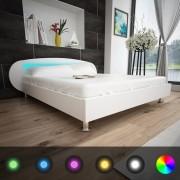 vidaXL Pat cu LED-uri, 180 x 200 cm, piele artificială, alb