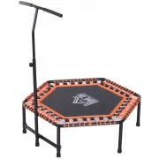 HOMCOM Mini Trampoline Hexagon Exercise Bungee Rebounder Jumper w/ Adjustable Handle Bar