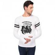 TRENDS TOWER Full Sleeve Round Neck Thumb Ring Mens T-Shirt White Color Motor Cycle Club Graphics Print