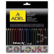 Creioane Colorate Lemn Negru 24 culori Adel