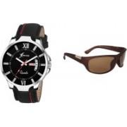 Rich Club Analog Watch, Wrap-around Sunglass Combo(Brown)