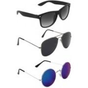 whay Wayfarer, Round, Aviator Sunglasses(Multicolor)