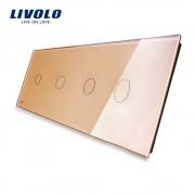 Panou 4 intrerupatoare simple cu touch Livolo din sticla, auriu