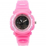 EW OSHEN Niños reloj de pulsera de cuarzo correa de cuero de imitacion reloj LED deportivo ronda ad1502 - Rosa