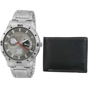 Crude Combo of Grey Dial Watch-rg702 With Black Leather Wallet