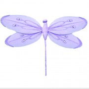 "Hanging Dragonfly 5"" Small Purple (Lavender) Shimmer Nylon Dragonflies Decorations. Decorate a Baby Nursery Bedroom, Girls Room Ceiling Wall Decor, Wedding, Birthday Party, Bridal Baby Shower, Bathroom. Kids Childrens Dragonfly Decoration 3D Art Craft"